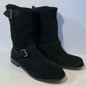 Report Black Boots Mid-Calf Slouchy silver buckles